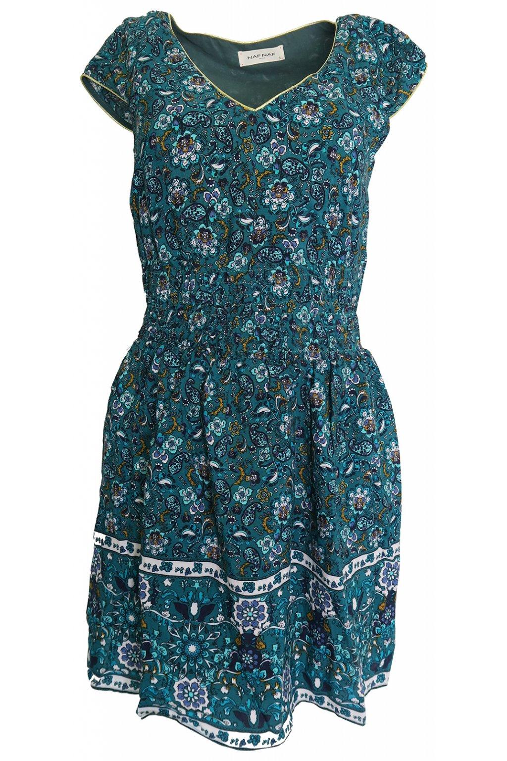 Zelené květované šaty Naf Naf