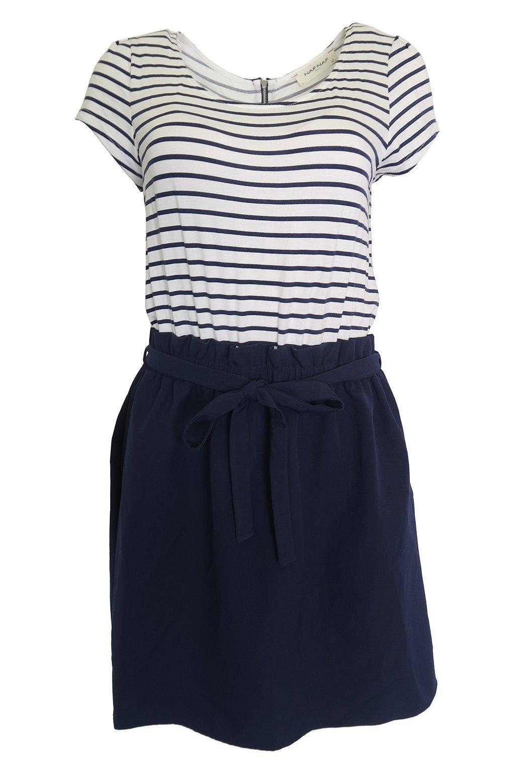 Modré šaty s proužky Naf Naf
