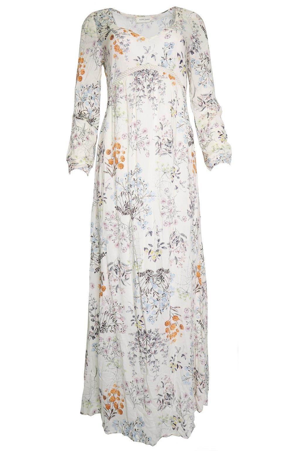 Krémové dlouhé květované šaty NAF NAF