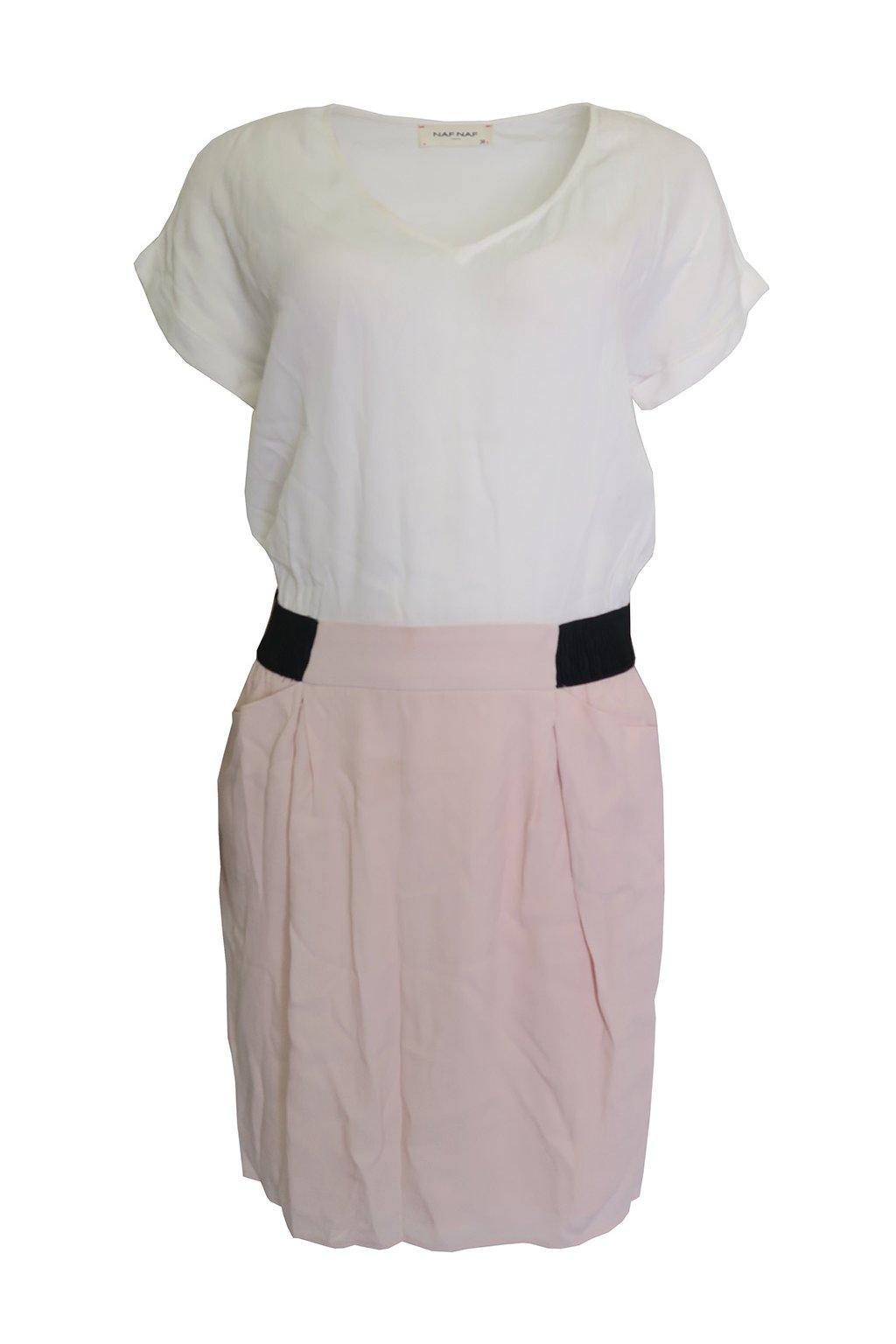 Bílorůžové šaty Naf Naf