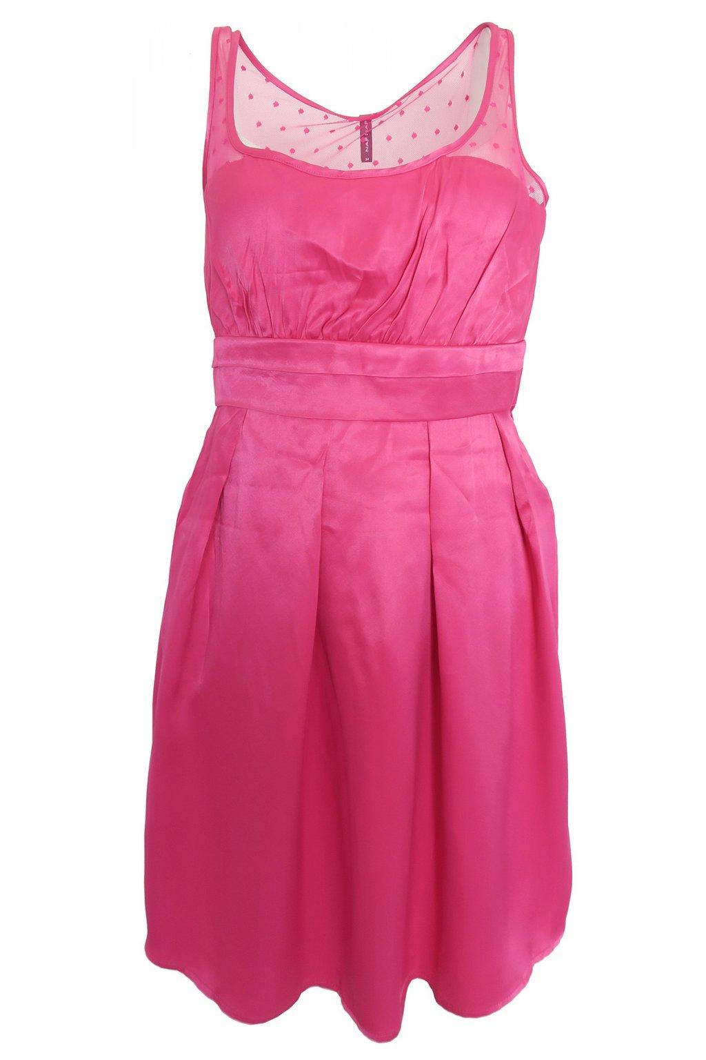 Růžové šaty s puntíky Naf Naf