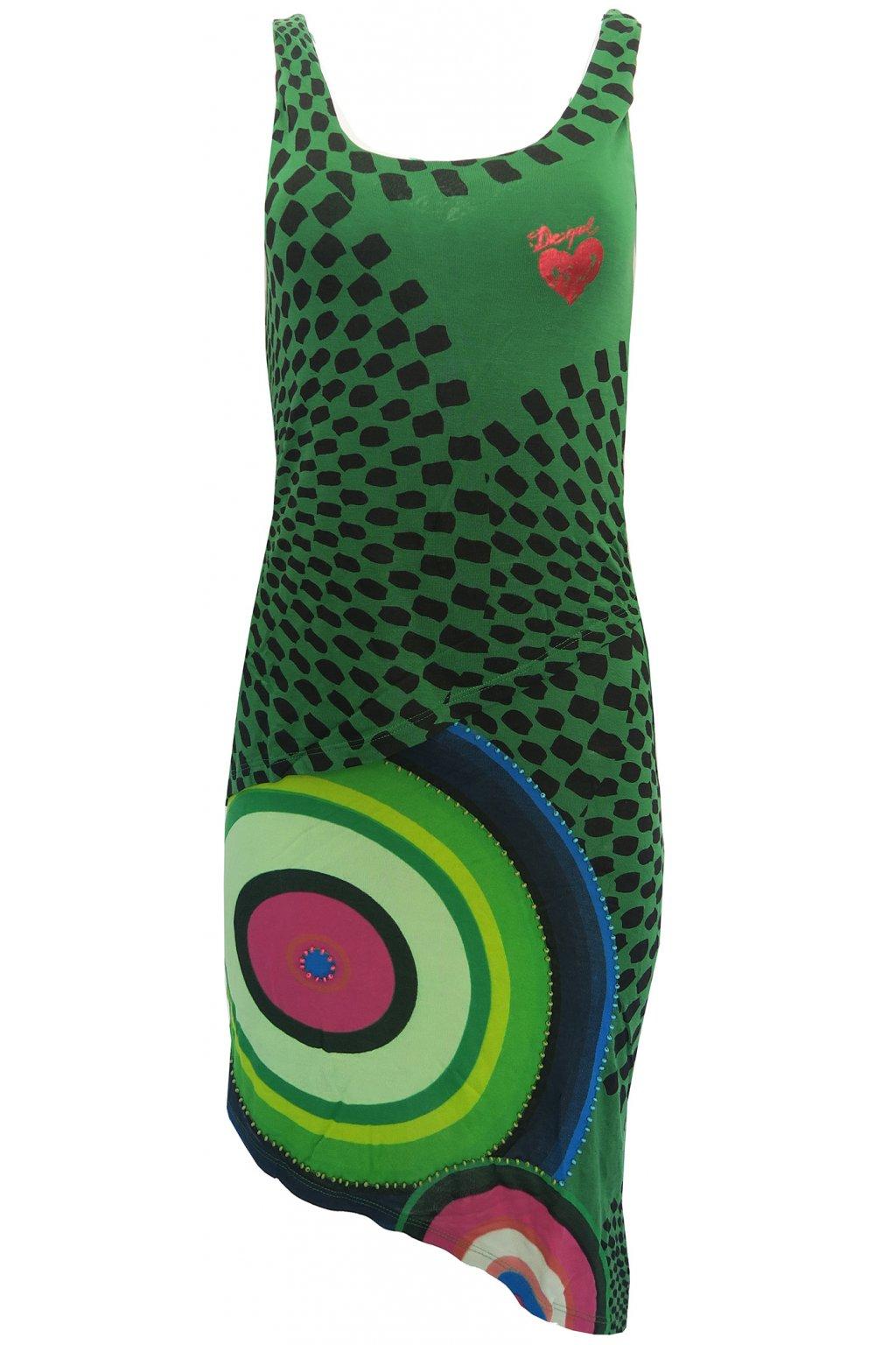 Desigual zelené šaty s korálky