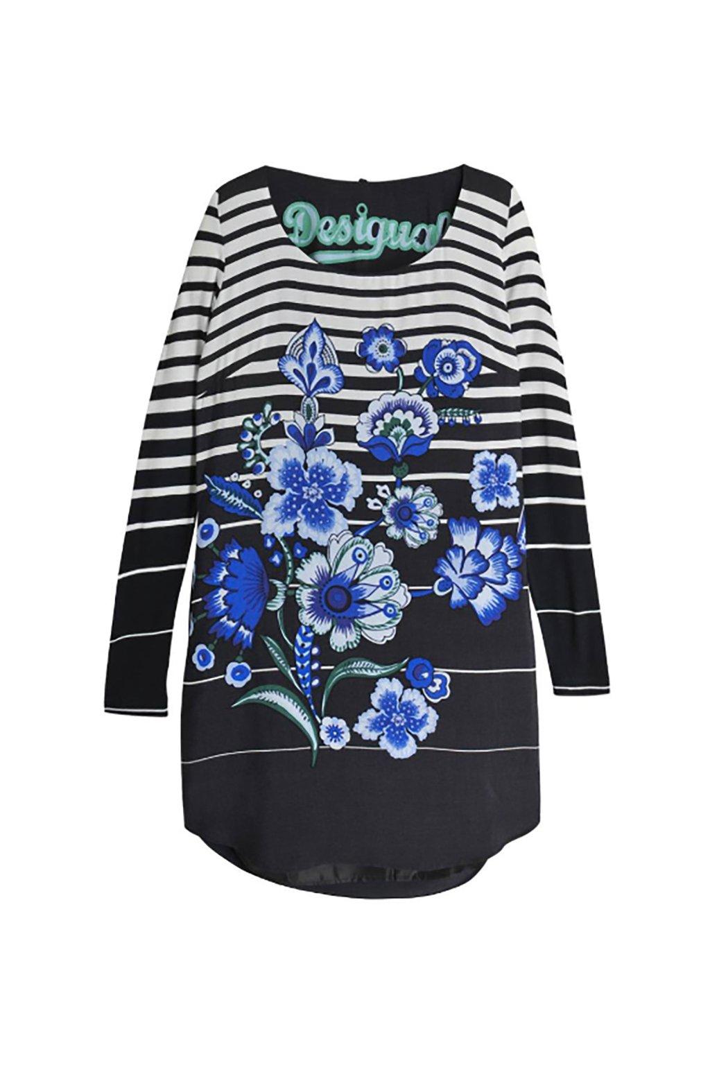Desigual černobílé pruhované šaty s květy