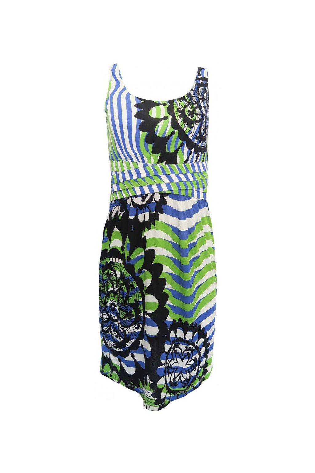 Desigual bílé šaty s barevným vzorem