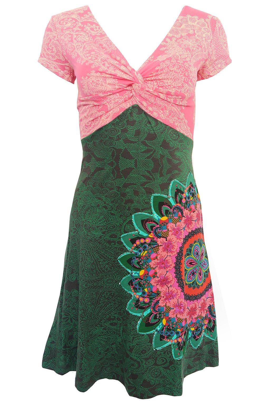 Desigual růžovozelené zdobené šaty