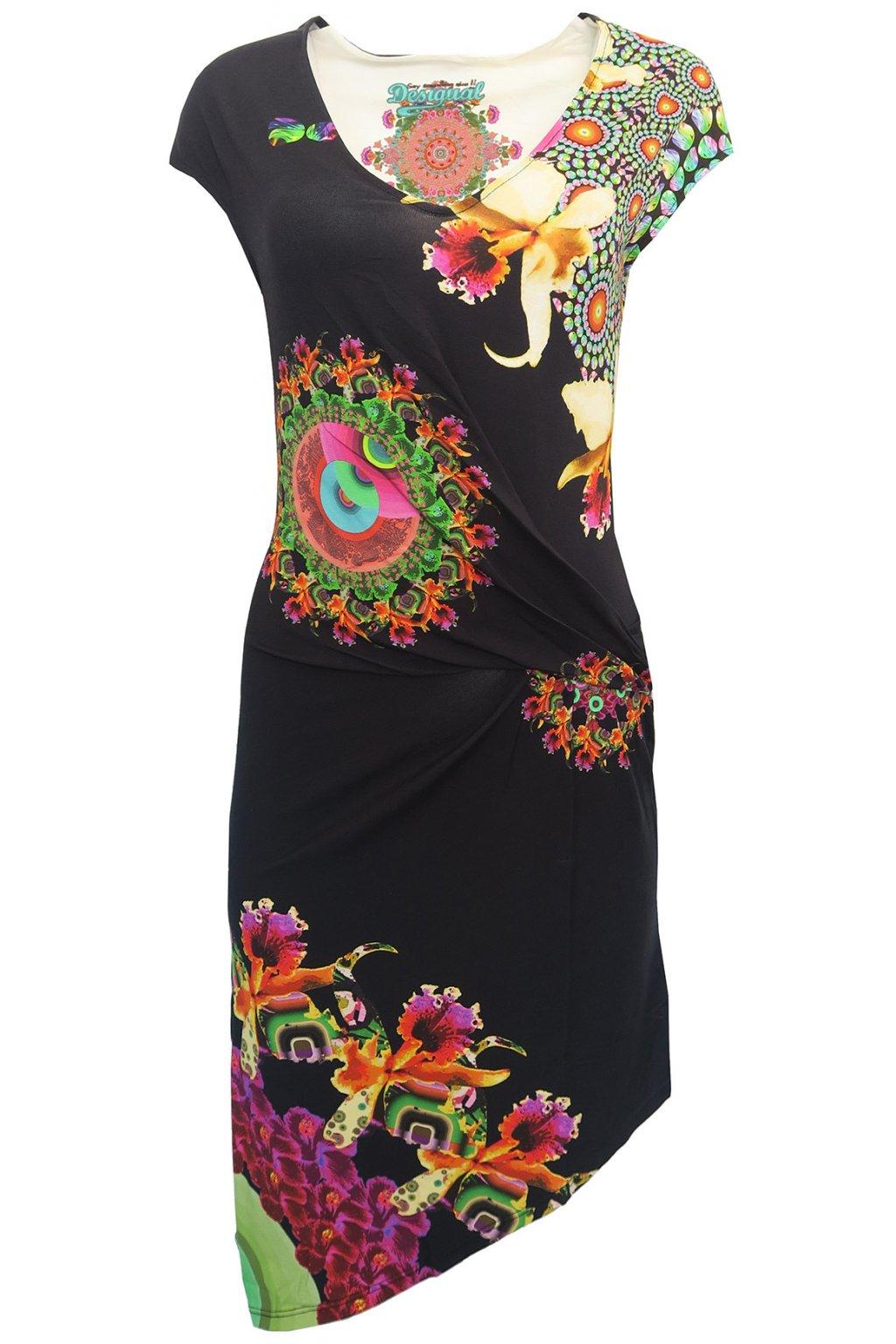 Desigual černé šaty s květy