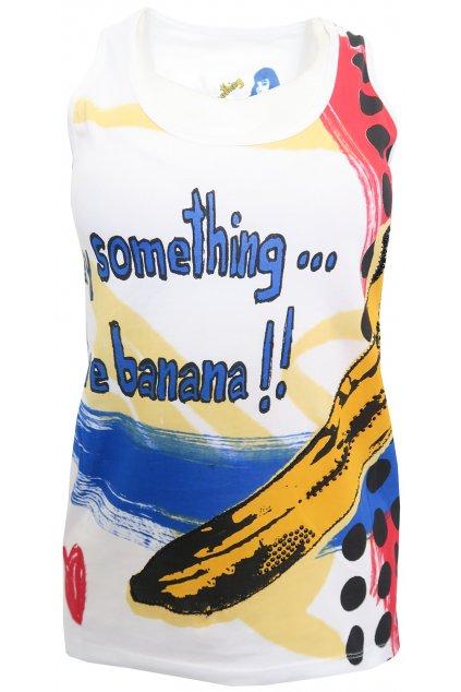 Desigual bílé tílko s potiskem banánu