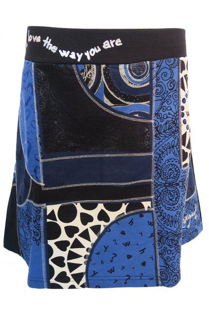 Desigual černá sukně s modrým vzorem