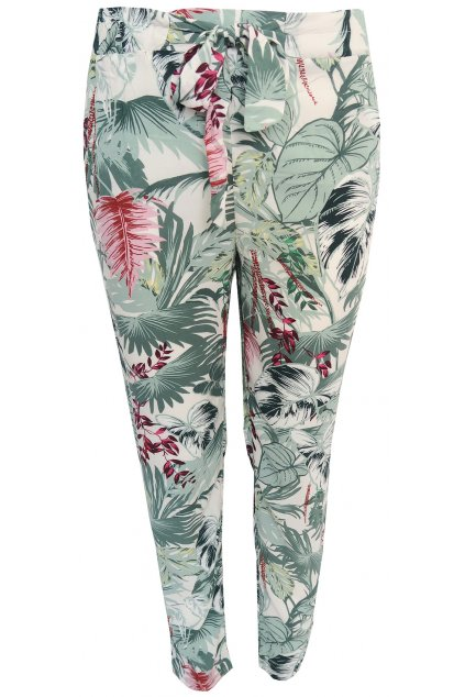 Plátěné kalhoty s motivem lístků Pimkie