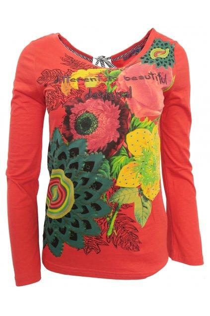 Červené květované triko Desigual