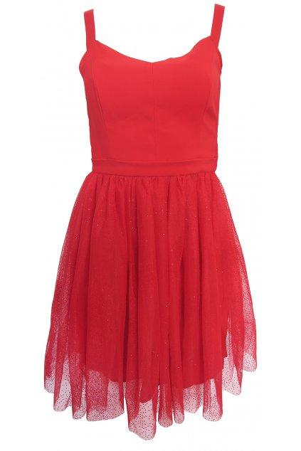 Červené tylové šaty NAF NAF