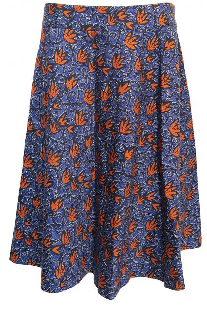 Modrá sukně s oranžovými kvítky Etam