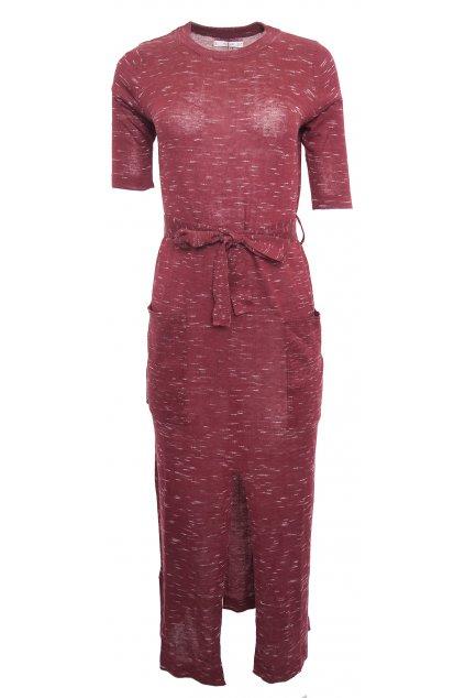 Vínové dlouhé šaty s rozparkem Mango