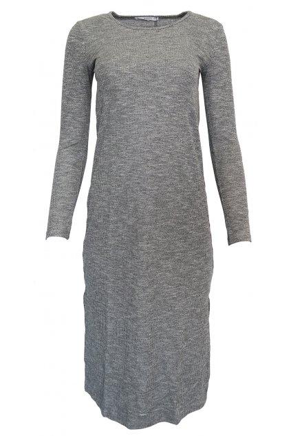 Šedé šaty s dlouhým rukávem Mango