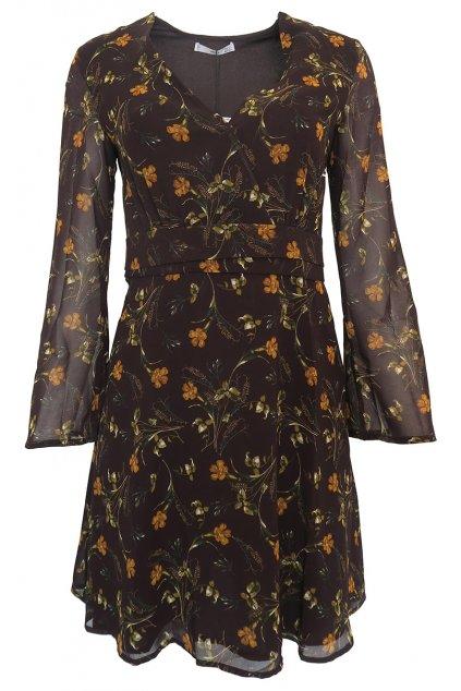 Šaty s hnědými květy Mango