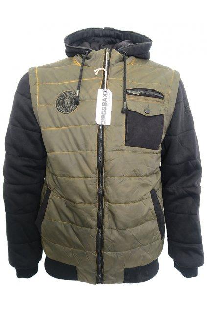 Khaki bunda Cipo & Baxx s kontrastními rukávy