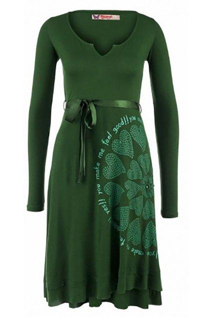 Zelené šaty se srdci Desigual