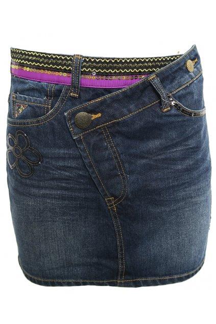 Džínová sukně s flitrovými vzory Desigual