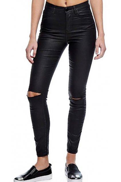 Černé lesklé kalhoty s průstřihy na kolenou GUESS