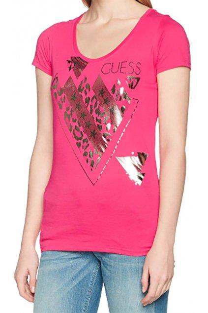 Tričko s lesklým potiskem Guess
