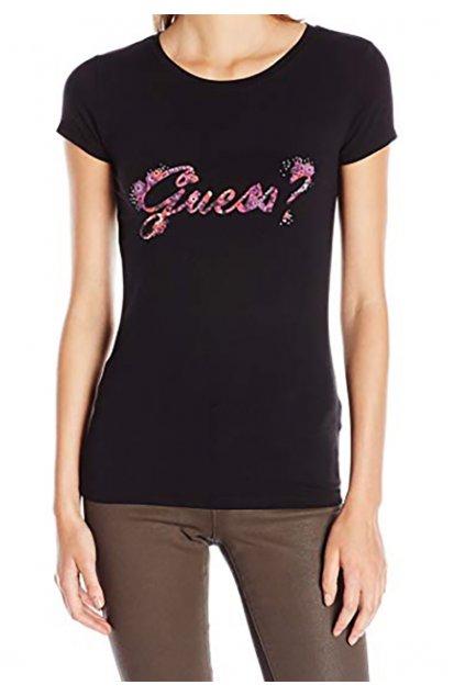 Černé tričko s fialovým nápisem Guess