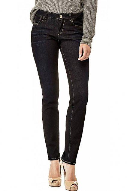 Tmavě modré džíny se zlatým logem Guess