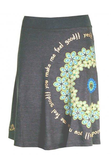 Šedá sukně se zelenkavými květy Desigual