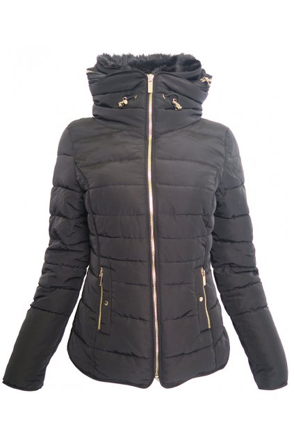 Černá bunda s kožíškem Pimkie