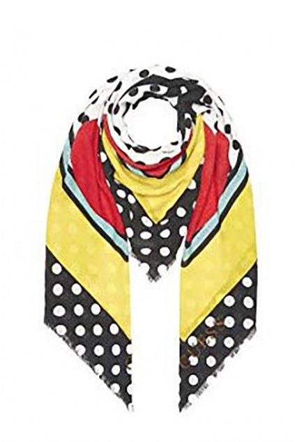 Barevný šátek s puntíky Guess