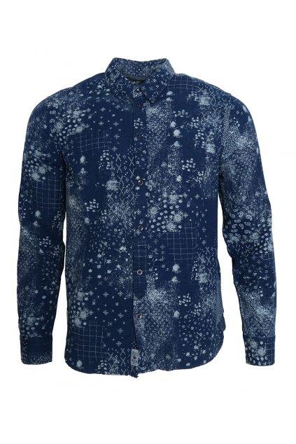 Modrá květovaná košile Pepe Jeans