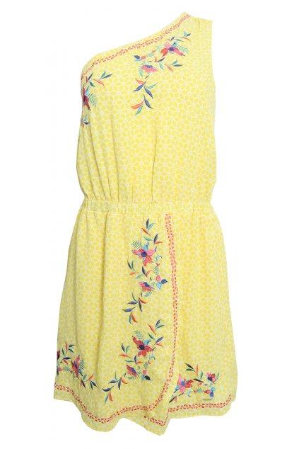 Žluté šaty na jedno rameno Pepe Jeans