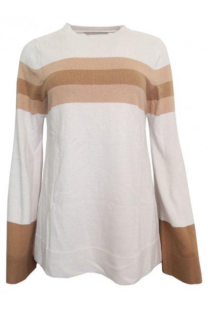 Bílý svetr s hnědými pruhy YAYA