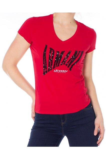 Tričko s flitrovým nápisem Armani Exchange
