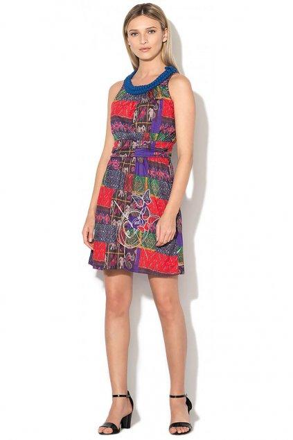 Barevné šaty s modrým výstřihem Desigual