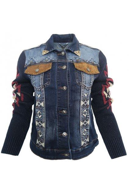Džínová bunda s úpletovými rukávy Desigual