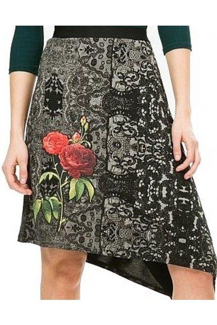 Černá sukně s růží Desigual