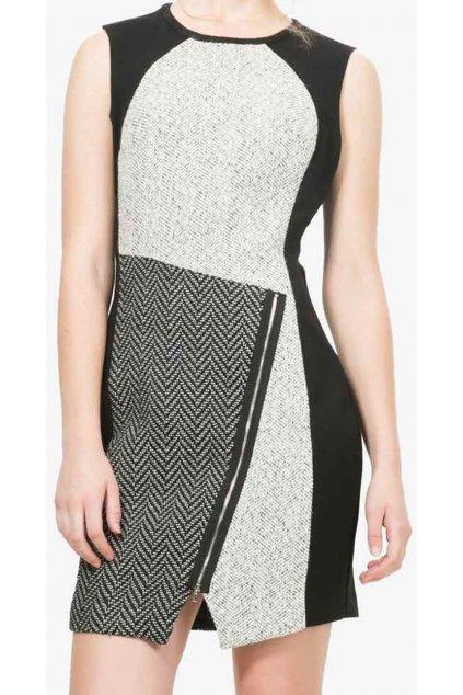 Černé šaty se svetrovým vzorem Desigual