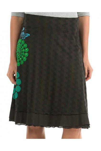 Tmavěhnědá sukně se zelenými koly Desigual