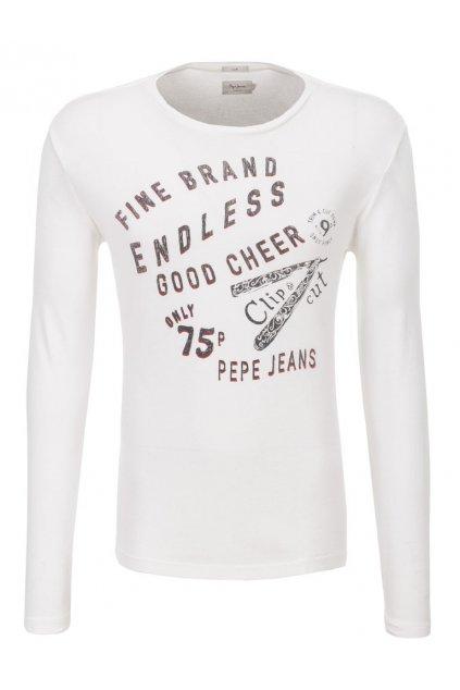 Bílé tričko s dlouhým rukávem Pepe Jeans
