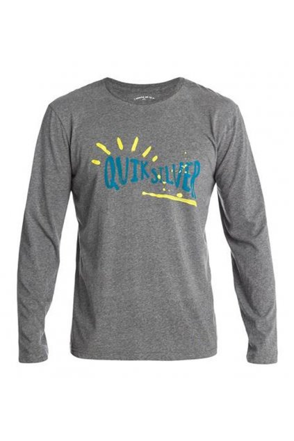 Šedé tričko s modrým nápisem Quiksilver