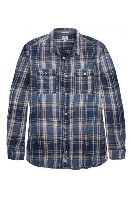 Kostkovaná modrá košile Pepe Jeans