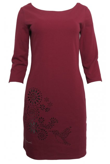 Vínové šaty s průstřihovým vzorem Desigual