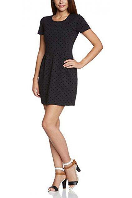 Černé šaty s puntíky Pepe Jeans