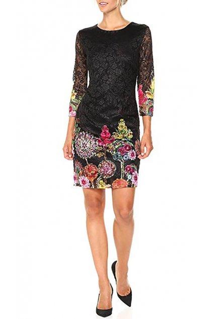 Krajkované šaty s barevným vzorem Desigual