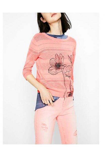 Děrkovaný svetr s květinou Desigual