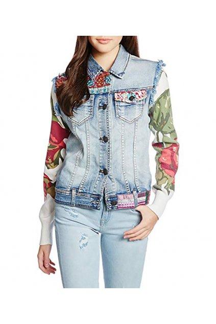 Džínová bunda s barevnými rukávy Desigual