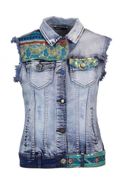 Džínová zdobená vesta Desigual