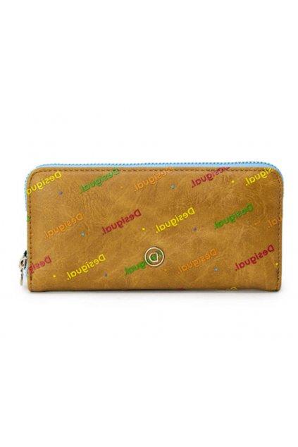 Hnědá peněženka s barevným logem Desigual