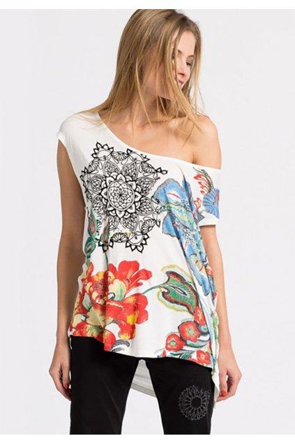 Desigual bíle triko s barevnými květy