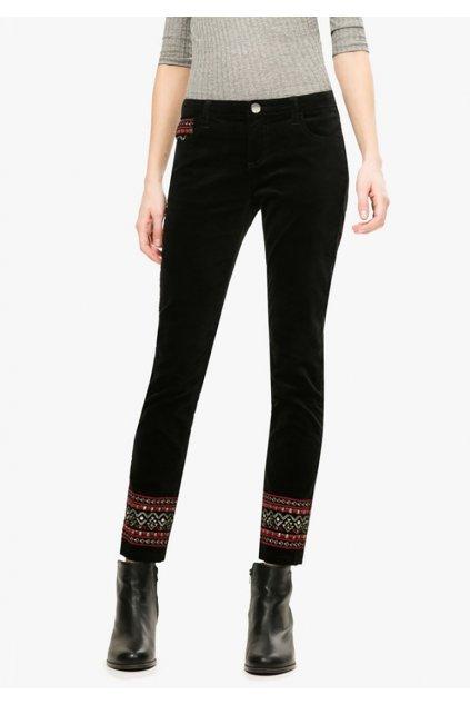Semišové kalhoty s vyšíváním Desigual